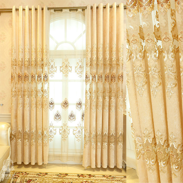 Online Shop New Luxury Europe Embroidered Tulle Window Curtains For Living  Room Bedroom Golden Yellow Curtains Window Treatment Drapes | Aliexpress  Mobile