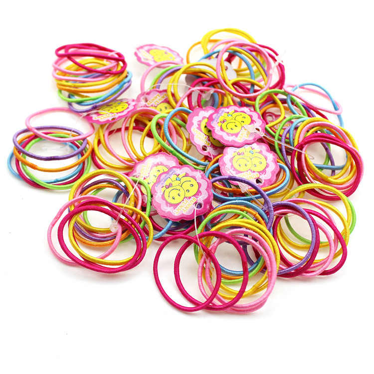 100Pcs Rubber Hair Bands Ponytail Holder Elastic Head Rope Hair Ties Headwear Girls Hair Accessories For Women Kids Girl Lady