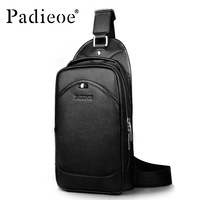 Padieoe Black Men Messenger Bags Luxury Designer Handbags High Quality 2016 Genuine Leather Crossbody Bag Free