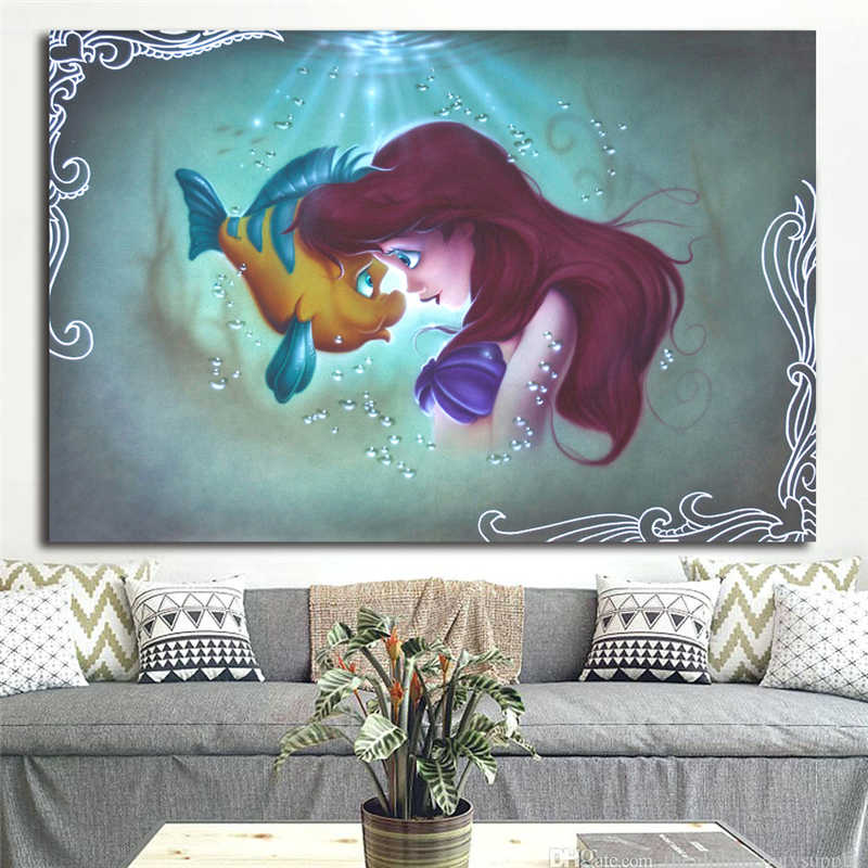 The Little Mermaid Ariel Flounder Canvas Posters Prints Wall Art Painting Decorative Picture Modern Home Decoration Framework HD