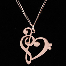 Music Symbol Heart Pendant Necklace