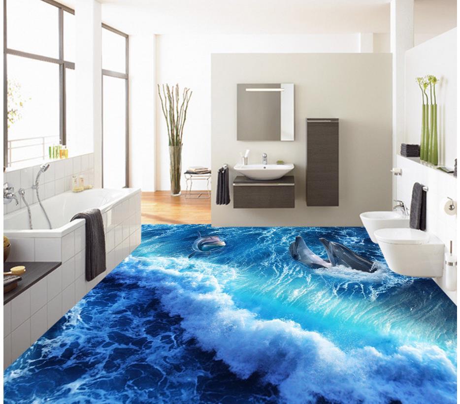 3d stereoscopic wallpaper Home Decoration Dolphin Waves Sea World 3D bathroom living room floor pvc floor wallpaper 3d stereoscopic stone water 3d wall murals wallpaper floor 3d wallpaper floor for living room home decoration