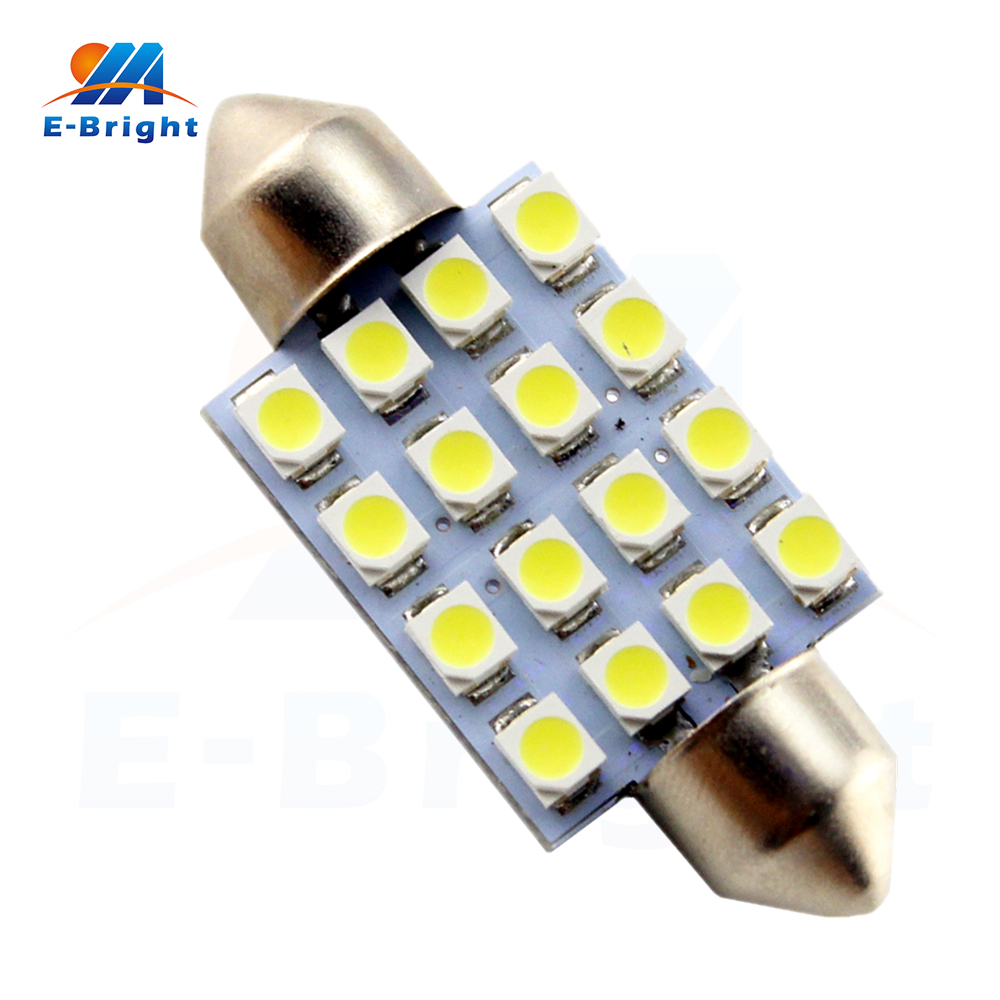 Hotsales 20/100pcs 31mm/36mm/39mm/41mm 1210 16 SMD LED Festoon Bulbs C5W Car Dome Reading Pate Number Lights 12V Free Shipping