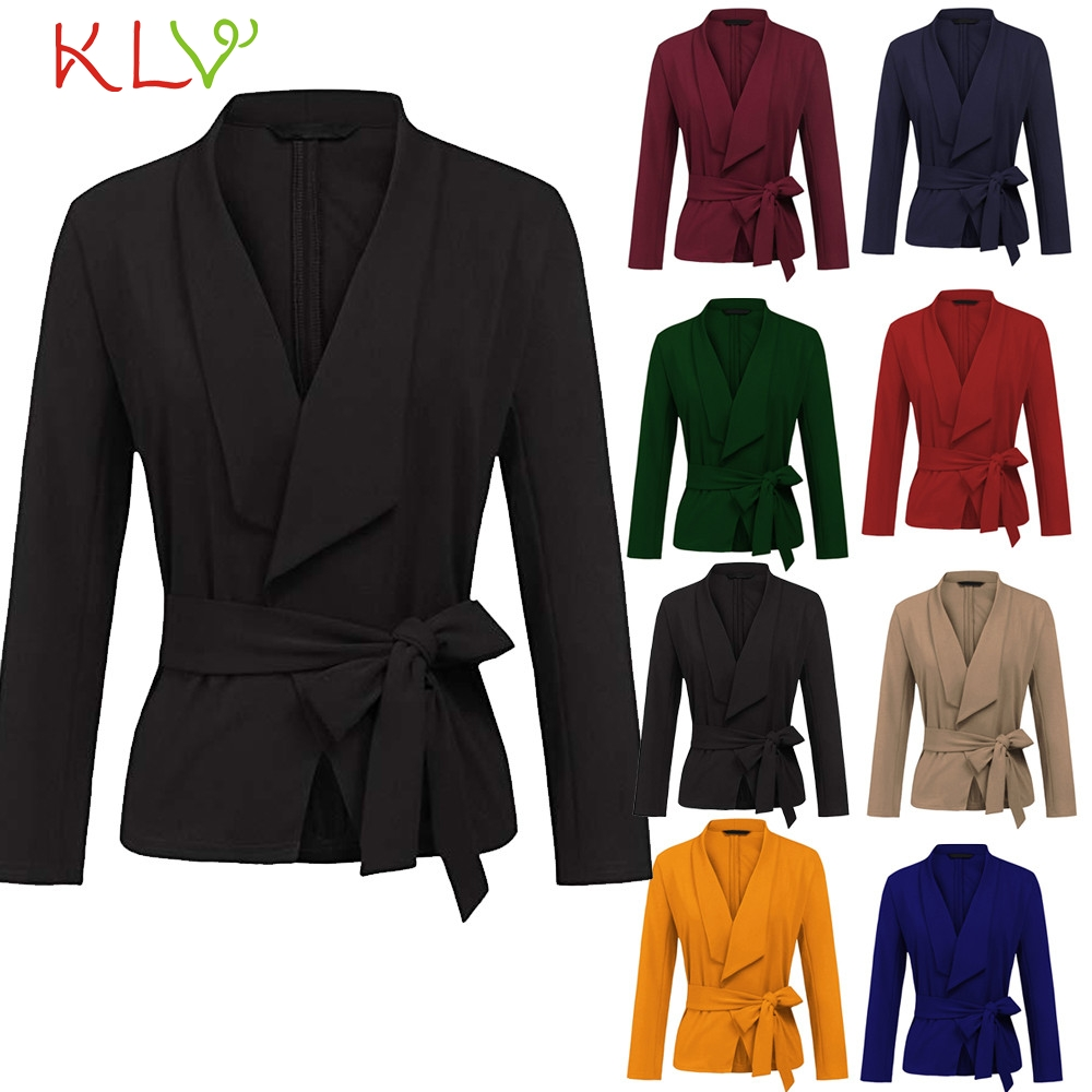 Women's Clothing Blazers Bright Women Blazer Winter Elegant 2018 Fashion Office Lady Belt Suit Long Plus Size Chamarra Cazadora Mujer Coat For Girls 18oct26 Aromatic Character And Agreeable Taste