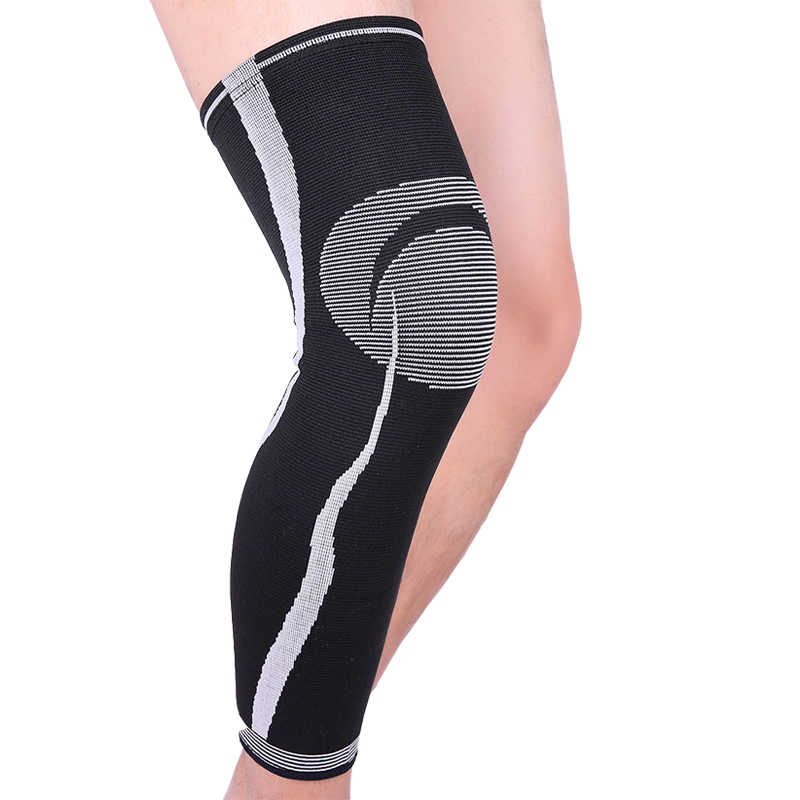 Four-way black elastic striped knitting leg protect  running cycling  long leggings knee pads protection 1pcs  #sbt211