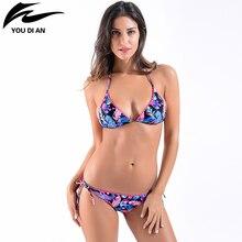 ФОТО new 2017 retro sexy floral print bikini set swimwear womens swimsuit bathing suit beach high quality flower bikinis women