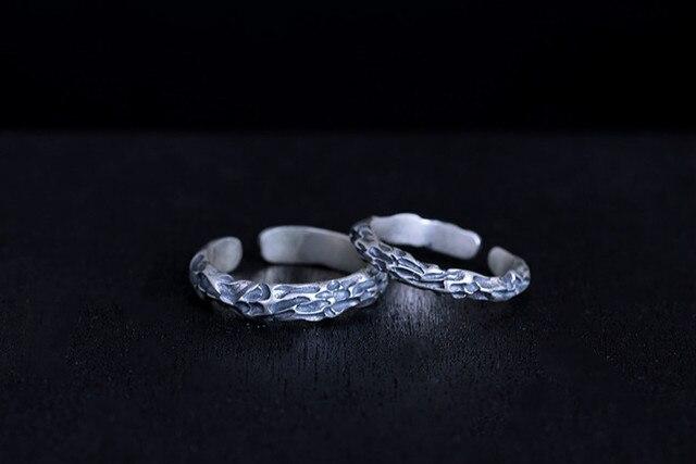 100% 925 пробы с серебряной текстурой камня Открытые Кольца