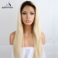 Sunnymay 1BT 613 Blonde Color Dark Roots Brazilian Human Hair Full Lace Wig Ombre Blonde 613