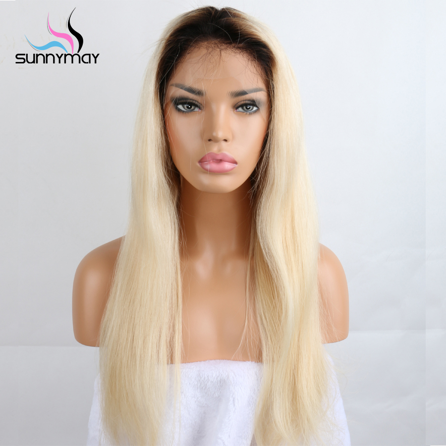 Sunnymay 1BT 613 Blonde Color Dark Roots Brazilian Non Remy Full Lace Wig Ombre Blonde 613