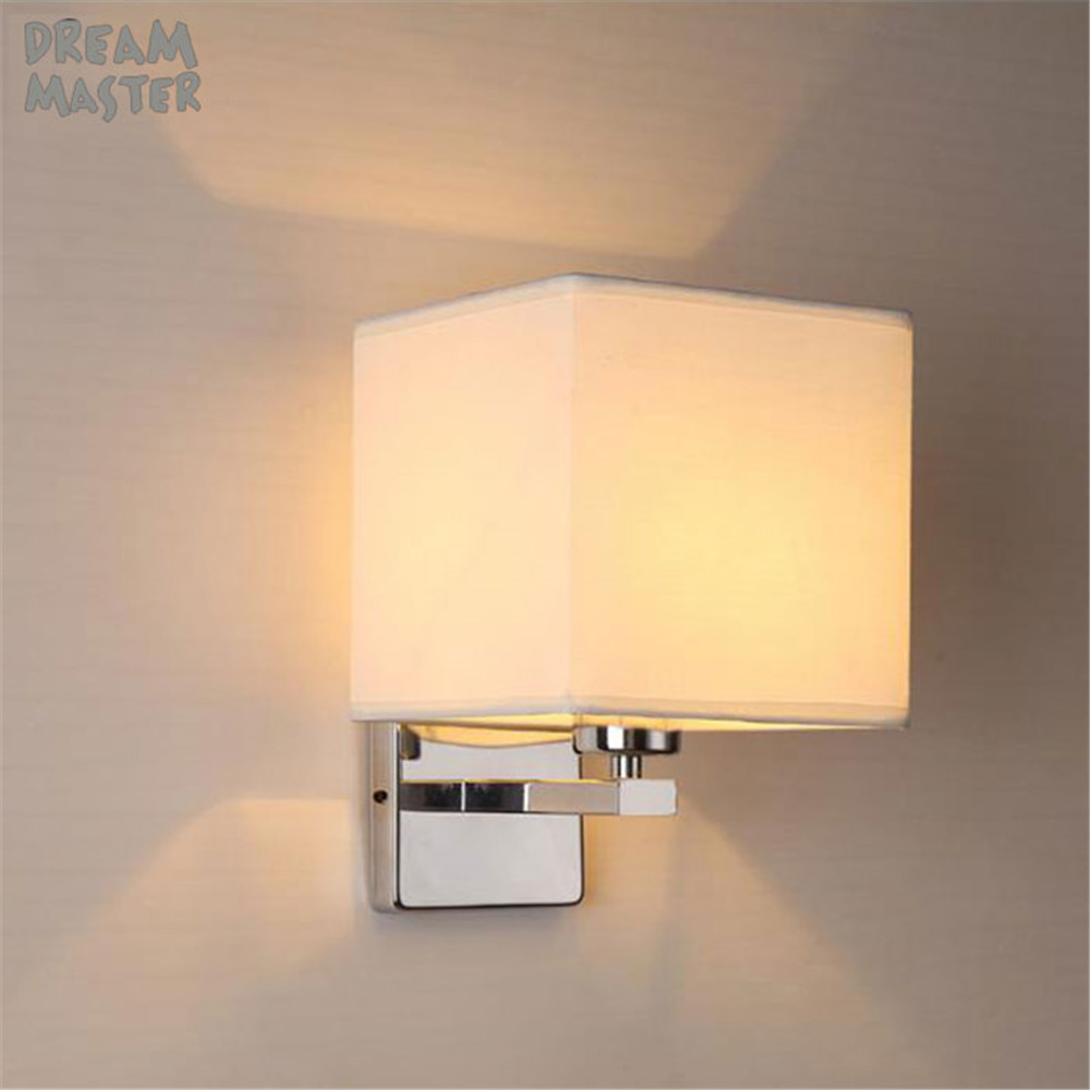 Modern Nordic Style E27 Wall Lamps Stainless steel Indoor Bedroom fabric Wall Light Reading Study Living Room Decoration fixtureModern Nordic Style E27 Wall Lamps Stainless steel Indoor Bedroom fabric Wall Light Reading Study Living Room Decoration fixture