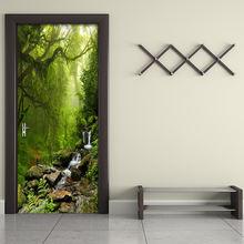 ПВХ самоклеящаяся водостойкая дверная Наклейка 3d лес пейзаж