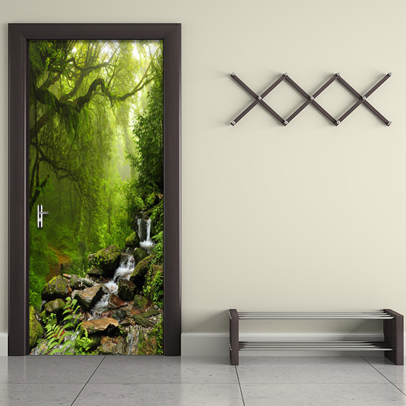 PVC Self-Adhesive Waterproof Door Sticker 3D Forest Landscape Photo Wallpaper Living Room Bathroom Home Decor Wall Paper For 3 D