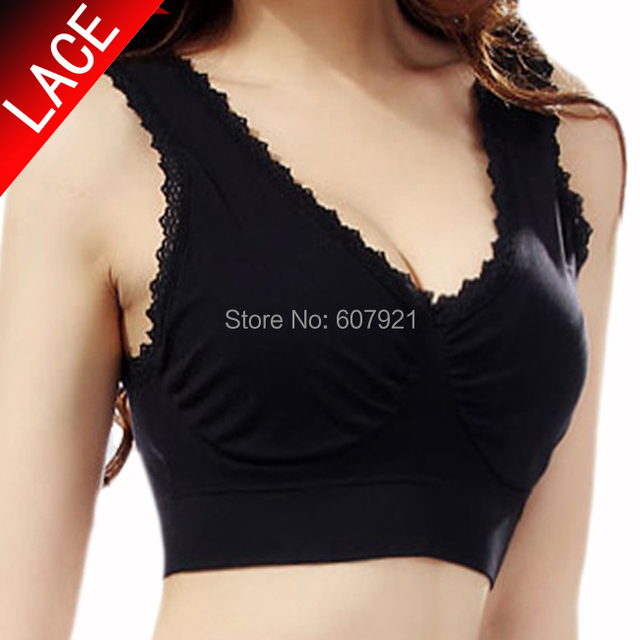 09728ab90ff6f 2pcs lot Genie Bra with removable pads LACE STYLE Women s Two-double Vest  BODY SHAPER Push Up BREAST Ahh bra