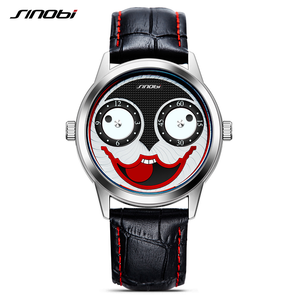 SINOBI Men Watches Creative Watch For Boys Halloween Clown Joker Watches 2018 New Arrival Relogio Masculino Quartz Watch Men