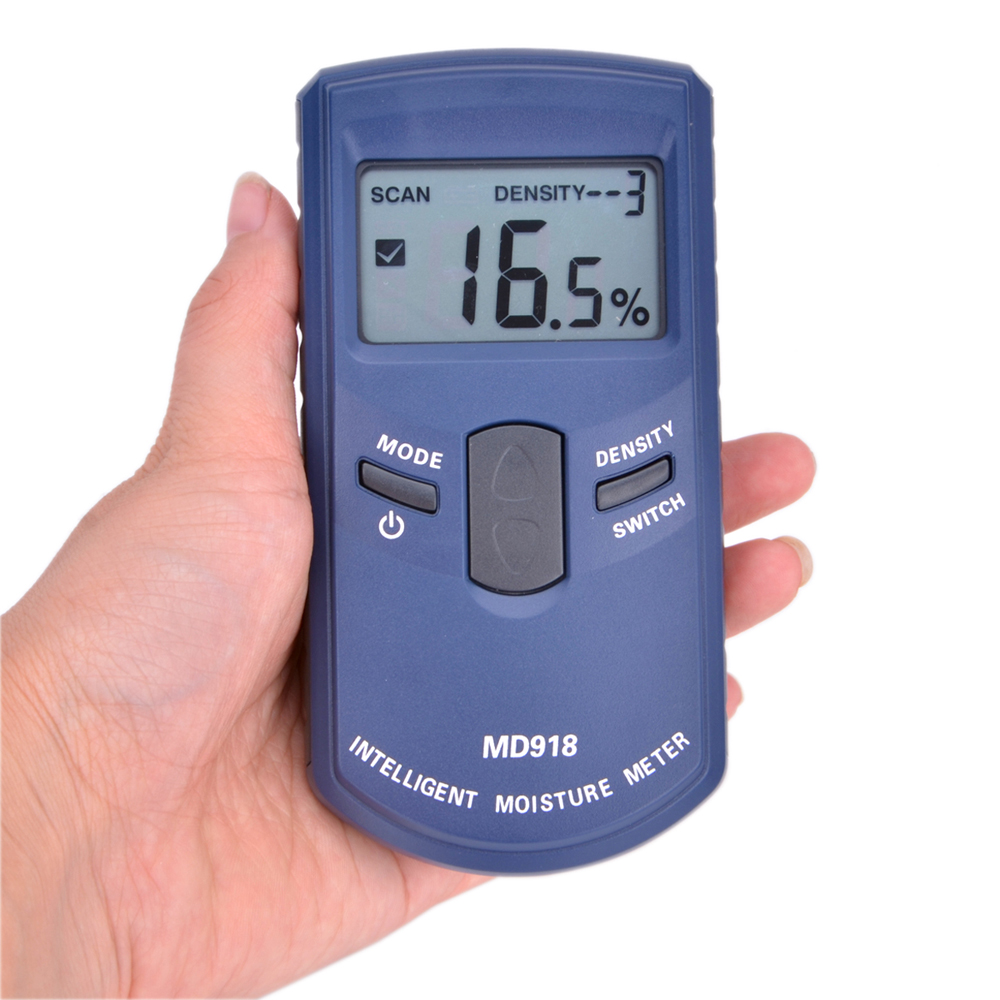 MD918 Digital LCD Inductive Wood Tree Timber Moisture Meter 4~80% Timber Internet Humidity Tester Density ATC Resolution:0.5%