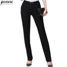 Naviu New Fashion Summer Thin Material Women Trousers OL Slim Mid Waist Pants Occupational Formal Plus Size Straight Bottom