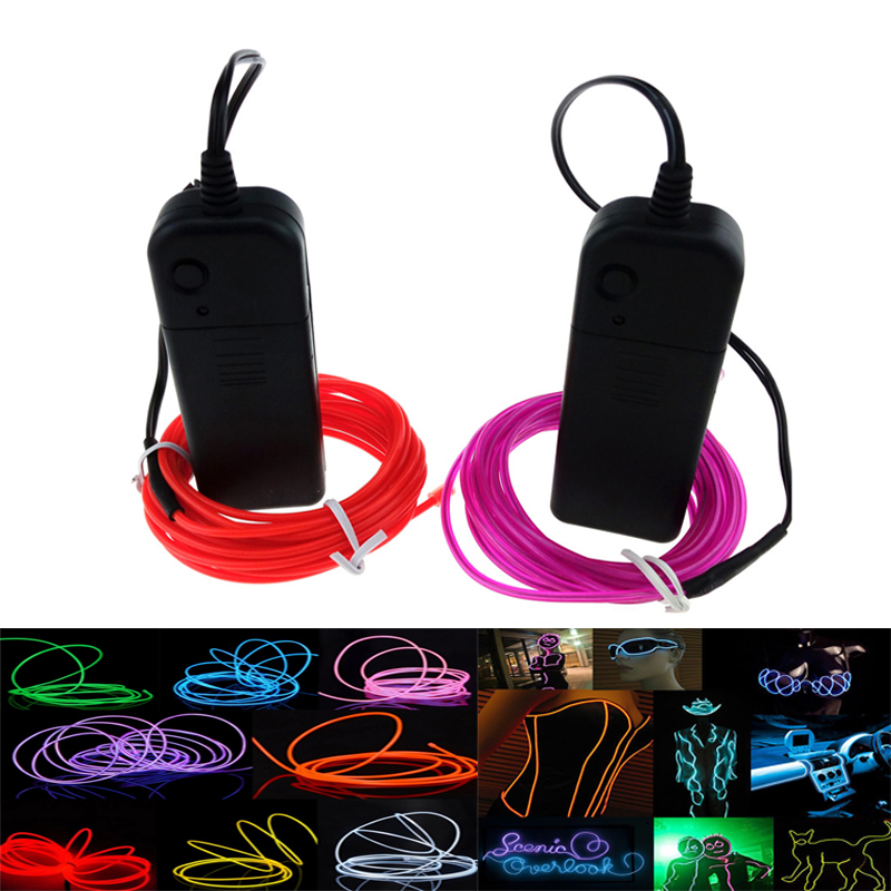 Controller LED EL Wire 1M 2M 3M 4M 5M Glow Lights String Strip Rope Car Party