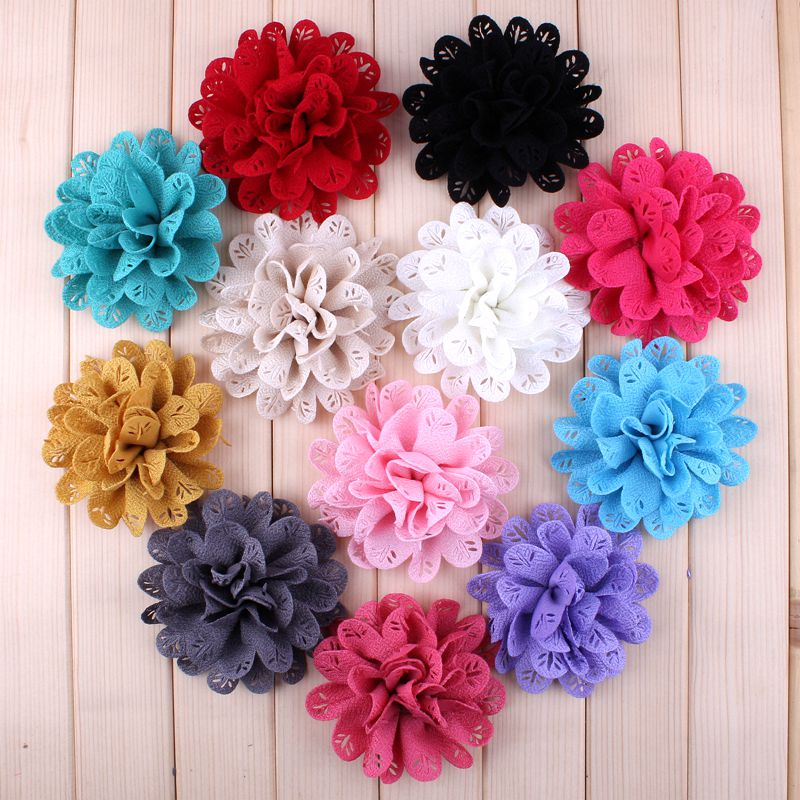 10pcs/lot3.8 12 Colors Hair Clip Chic Fabric Flowers For Hair Accessories Artificial Hollow Out Leaf Flowers For DIY Headbands