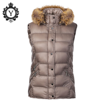 COUTUDI 2016 Latest Women Winter Vest Waist Coats Fur Hooded Zipper Down Cotton Padded Vest Warm Sleeveless Jackets Female Vests