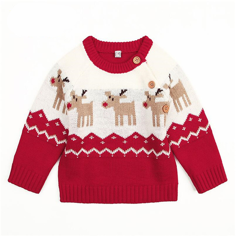 Long-Sleeve Children's Christmas Deer Kintting Sweater for Baby Girls Boys 2018 Warm Cartoon Cashmere Tops Clothes New Hot Sale 2017 new cashmere sweater women clothes 100