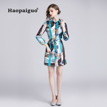 S-XXL Plus Size Print Dress Elegant Women Cloth Turn-down Collar Long Sleeve MIni Dress Club Wear for Ladies Shirt Dress Autumn s xxl plus size corset blue knitted sweater dress women turn down collar casual elegant dress women midi long sleeve dresses