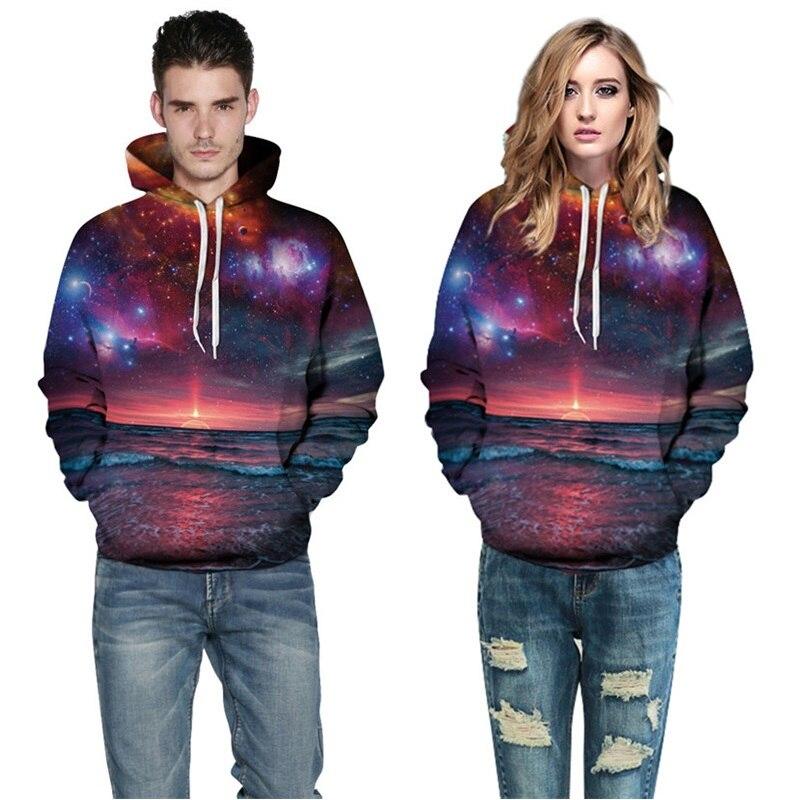 New Fashion Women Men Casual Hoodies Night Dusk Galaxy Hoodies 3d Printed Pullover Sweatshirt Unisex Drop Shipping S-3XL