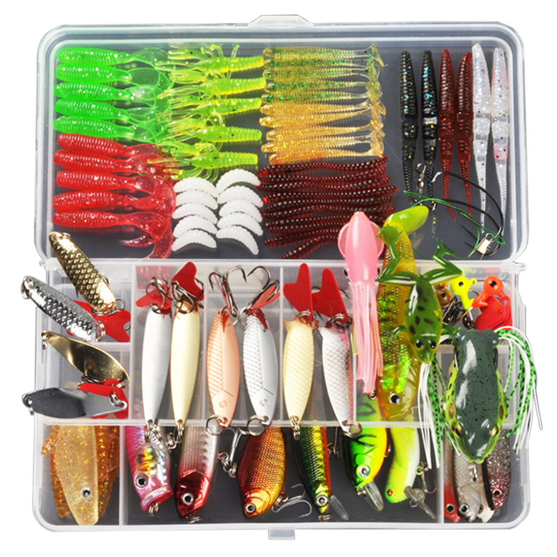 Señuelo de pesca ALLBLUE Minnow/Popper/Wobbler cuchara de Metal señuelo de cebo suave juego de Señuelos de Pesca Isca Artificial Color mezclado/estilo/peso