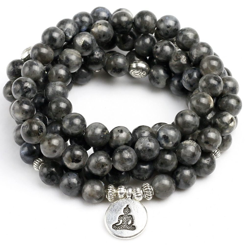 Natürliche Schwarze Flash Labradorit Strang Armband-handgemachte männer 108 Mala Yoga Armband oder Halskette Ohm Charme Frauen Armband