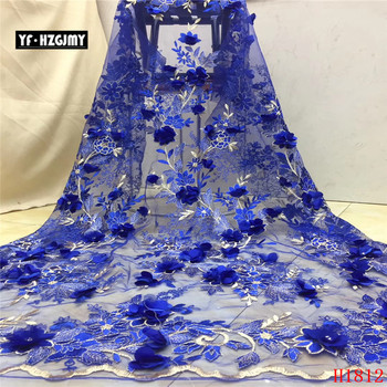 YF HZGJMY Nigerian Lace Fabrics Royal Blue 2019 Embroidered 3d Flowers Lace African French Tulle Lace Fabric for Party A1812