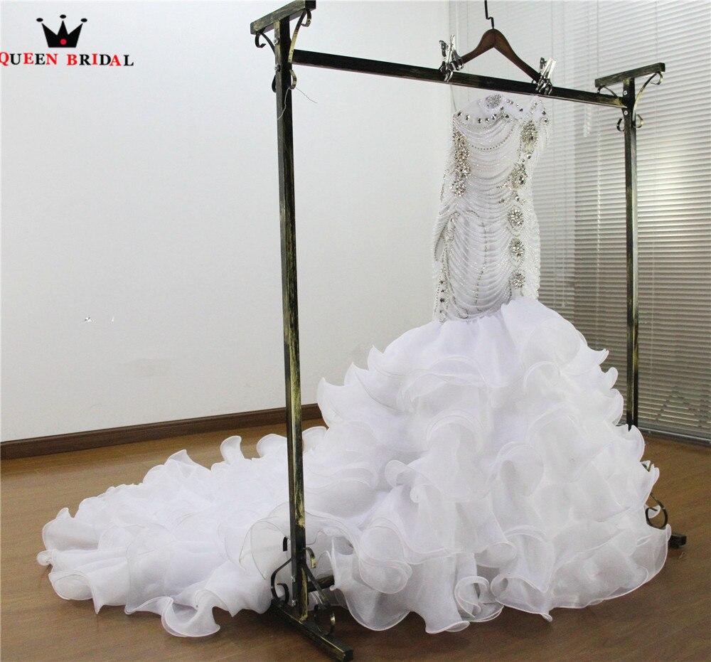 Custom Made Mermaid Long Train Sweetheart Backless Crystal Diamond Beads Luxury Sexy Wedding Dresses Bridal Wedding Gown WS71