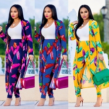 H&D 2018 autumn new african clothes african women print casual suits printed tops pant set lady clothes outfit womens dress
