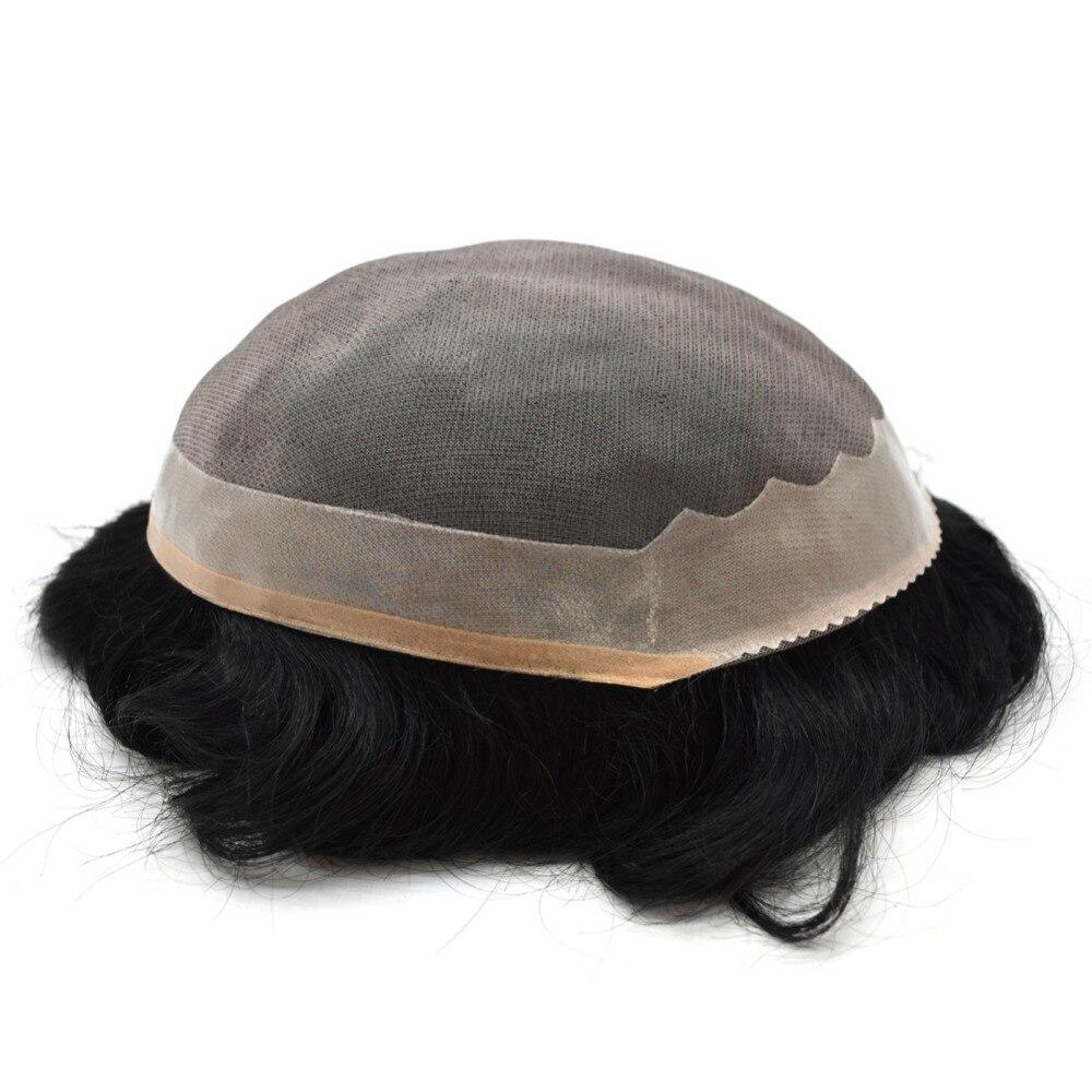 Eversilky Nautral Remy 人毛黒スーパー耐久性のあるモノトップポリコーティングされた辺男性のかつらかつらヘアピース交換  グループ上の ヘアエクステンション & ウィッグ からの ヘアピース の中 3