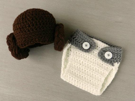 0 3m Newborn Infant Star Wars Princess Leia Crochet Hat And Diaper