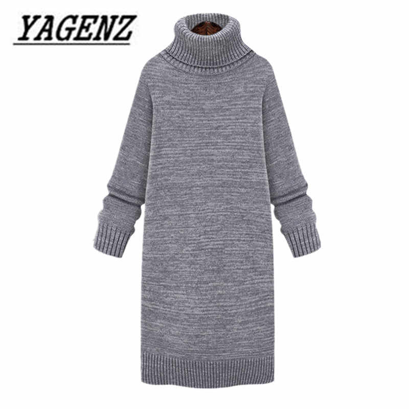 2018 Medium-long Thick Turtleneck Pullover Sweater Women's Clothing Autumn And Winter Loose Lady Warm Sweater Knit shirt Dress