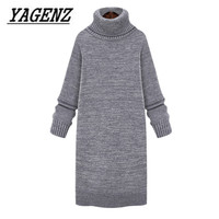 2018 Medium long Thick Turtleneck Pullover Sweater Women's Clothing Autumn And Winter Loose Lady Warm Sweater Knit shirt Dress