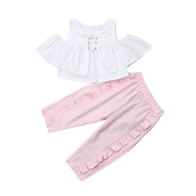 1-6T Cute Toddler Baby Girl 2Pcs Ruffle Solid Strappy Off-Shoulder Crop Tops Pleated Losse Long Pants Casual Summer Clothes Set
