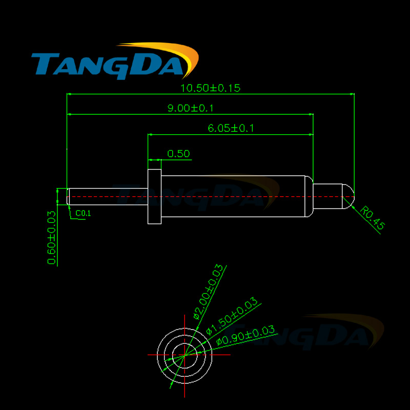 Tangda pogopin Connectors Spring probe PCB board Signal contact thimble 2*10.5 mm 1A Gold-plated 1u