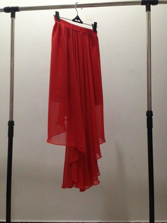 Летние модные однотонные сексуальные танцевальные юбки в стиле Лолиты, шифоновая юбка большого размера, Высококачественная брендовая Праздничная юбка - Цвет: Красный