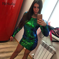 RichLuLu Fashion Solid Green Sequined Dress Women O-Neck Sexy Backless Bodycon Dress Long Sleeve Backless Mini Dress Vestidos