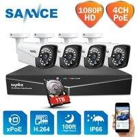 SANNCE 4CH XPOE 1080 P NVR CCTV комплекты видеонаблюдения 4 шт. 2MP 1920*1080 Всепогодная Внутренняя/наружная ip камера безопасности 1 ТБ HDD