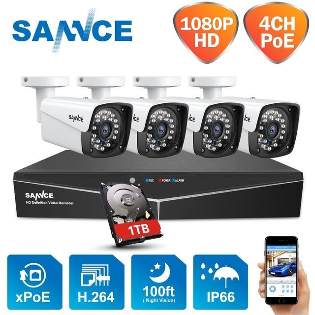 Sannce 4ch xpoe 1080p nvr cctv kits de vigilância, de vídeo, 2mp 1920*1080 resistente às intempéries, para áreas internas/externas câmera de segurança 1tb hdd