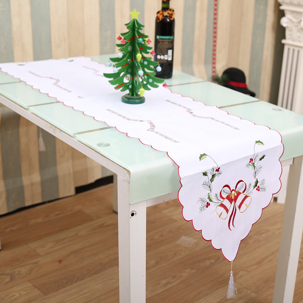 2018 Merry Christmas Table Runner Dresser Tapestry Dining Restaurant Party Decor For Home And Hotel