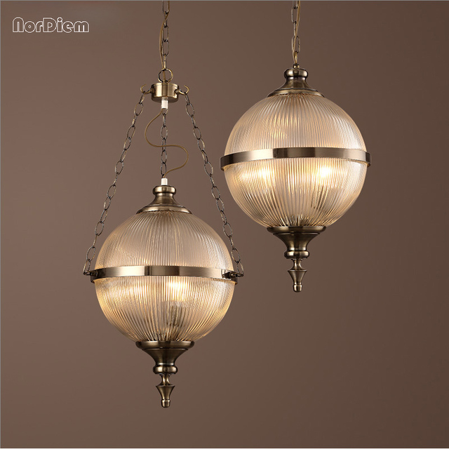 Vintage Glass Globe Pendant Lights Art Deco Bronze Suspension Lamp For  Living Dining Room American Kitchen