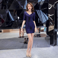 wei yin 2019 Blue Sequins Cocktail Dresses Sexy V Neck Spaghetti Short Party Gown Bodycon Vestido Coctel Corto WY1641