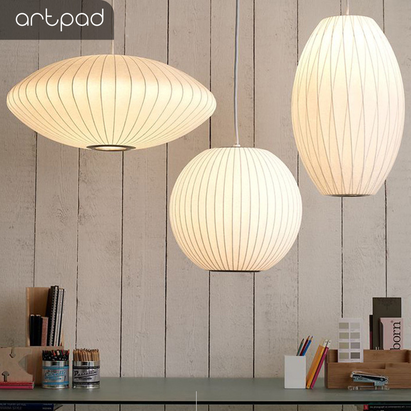 Artpad Japanese Pure White Silk Lampshade Pendant Light With E27 Bulb For Bedroom Bar Restaurant Wedding Decoration Hanging LampArtpad Japanese Pure White Silk Lampshade Pendant Light With E27 Bulb For Bedroom Bar Restaurant Wedding Decoration Hanging Lamp