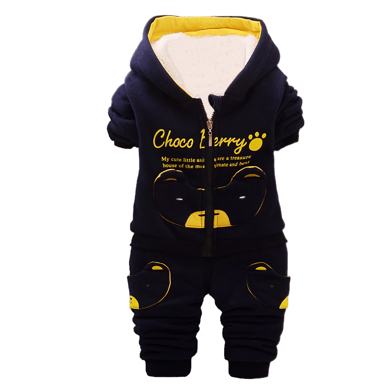 Baby Boys Clothing Sets 2017 Winter Thicken Warm Clothes Casual Kids Tracksuits For Toddler Cartoon Coat+Pants 2pcs/Set 73-110cm new 2017 winter warm children clothing set kids baby girl boy suit warm sets toddler hoodied coat vest long sleeves pant 3pcs