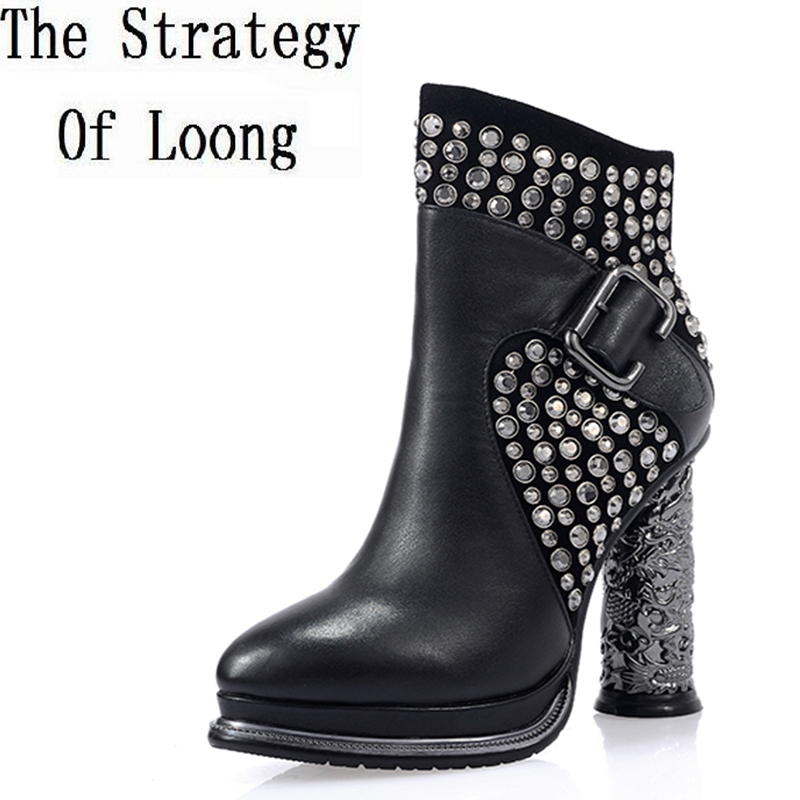 Women Autumn Winter Thick High Heel Genuine Leather Rivets Buckle Side Zipper Crystal Fashion Ankle Boots