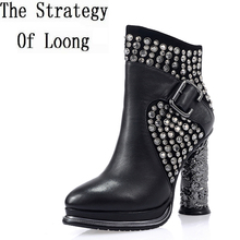 Women Autumn Winter Thick High Heel Genuine Leather Rivets Buckle Side Zipper Crystal Fashion Ankle Boots Size 34-39 SXQ0811