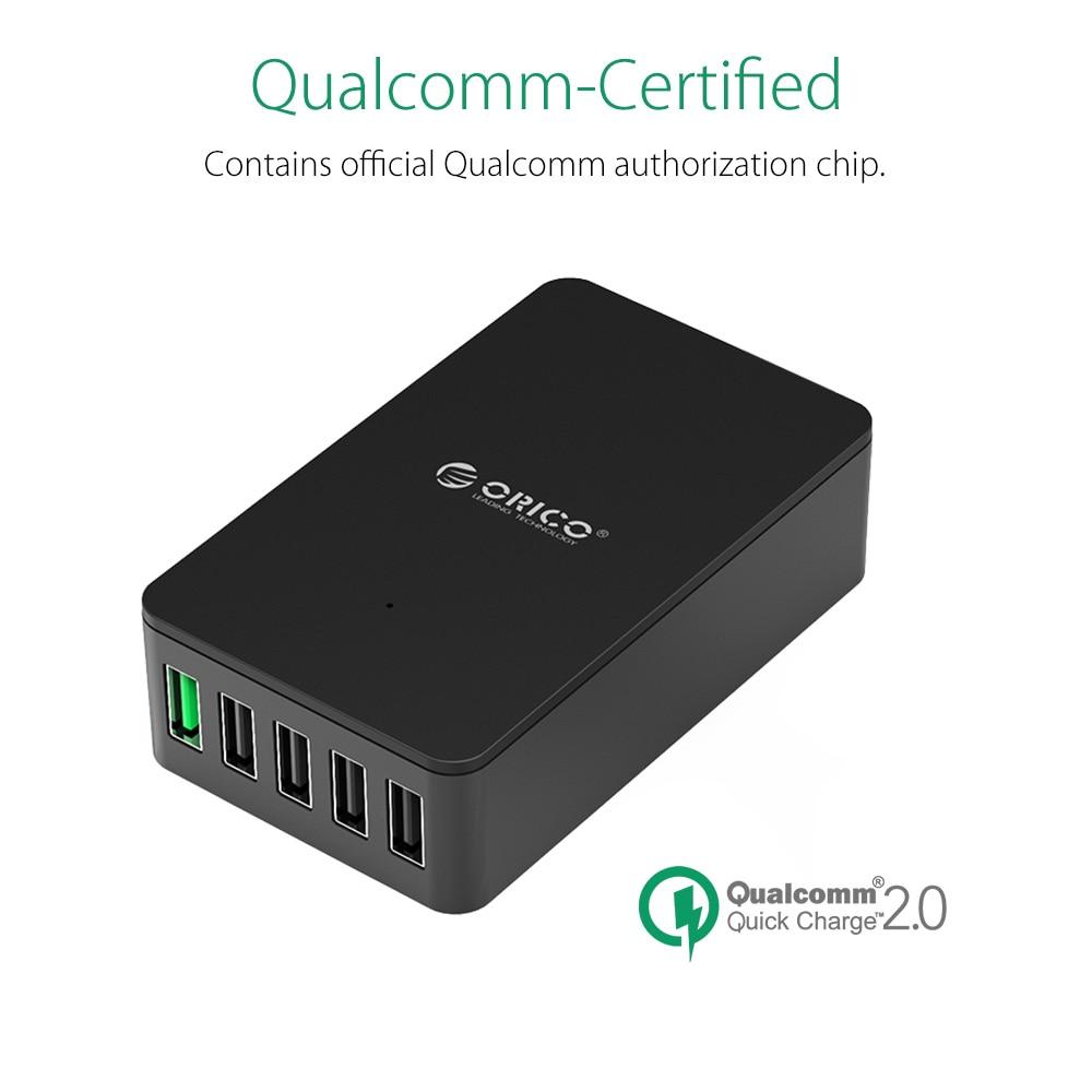 ORICO QSE-5U 5 Port QC2.0 5V2.4A 9V2A 12V1.5A Desktop USB Charger - Aksesori dan suku cadang ponsel - Foto 3