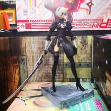 Game NieR:Automata 2b YoRHa No.2 Type B Black Dress Fighting Ver Model Battle Decoration Anime Action Figure Collection Toy 24cm